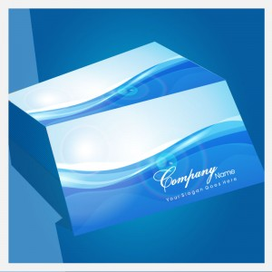 blue stacked business cards vector graphic