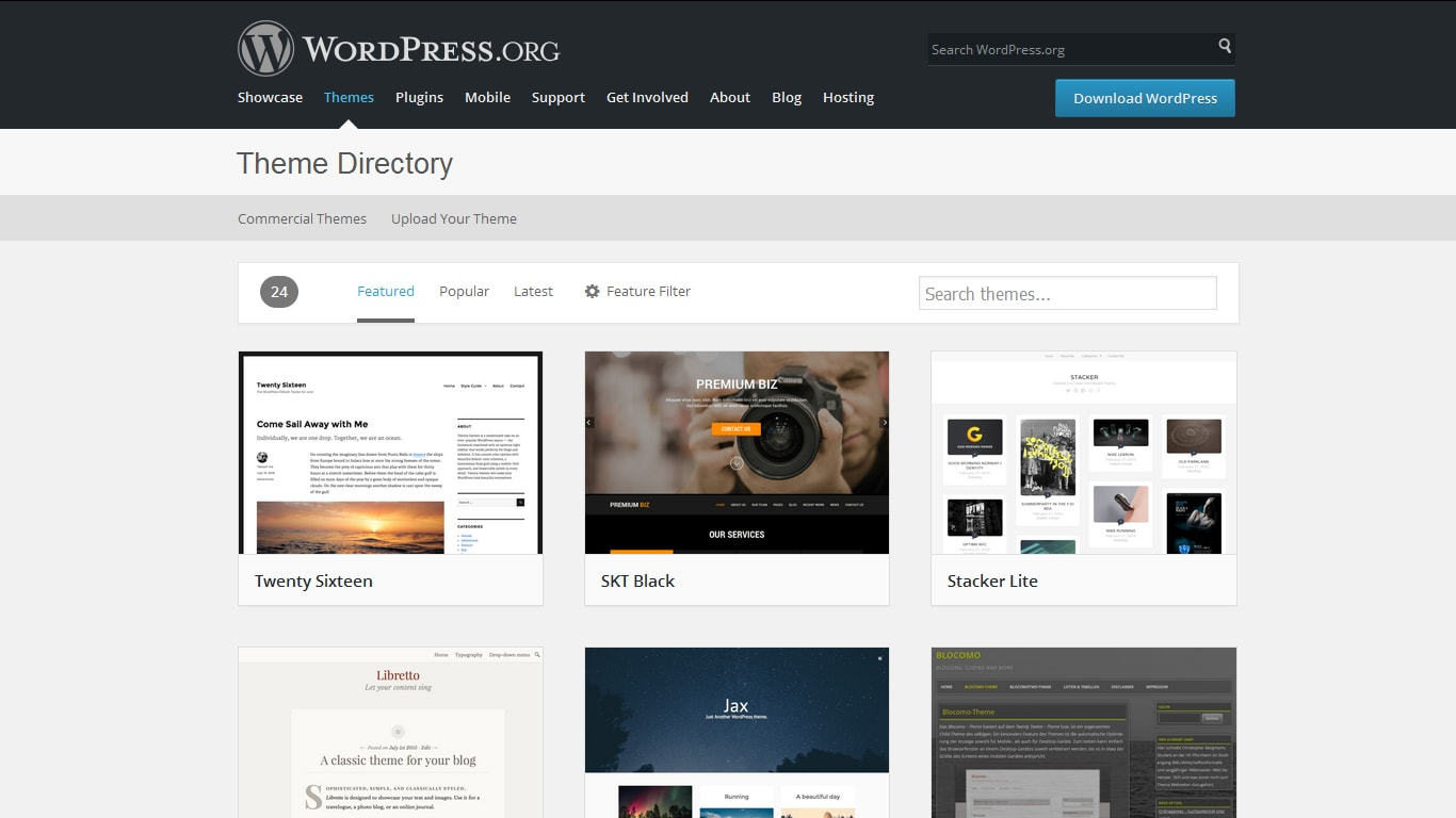 wordpress theme directory featured themes