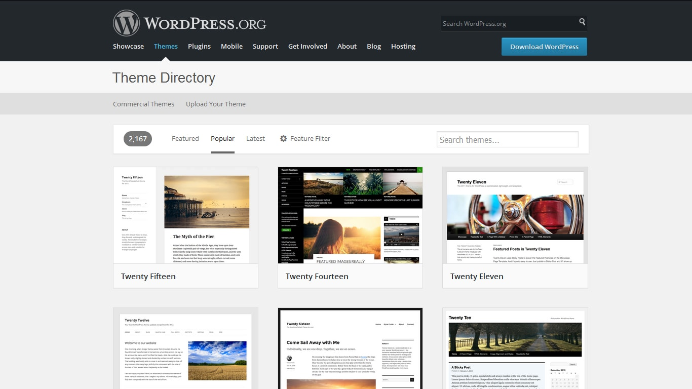 wordpress theme directory popular themes screenshot