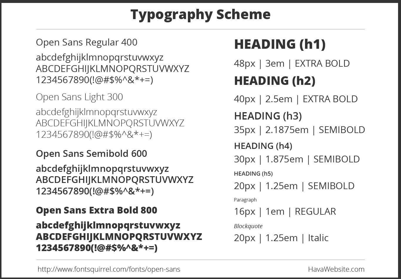 website design service typography scheme example