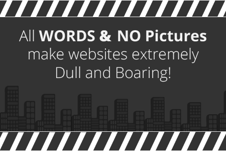 website graphic all words and no pictures make websites dull and boring