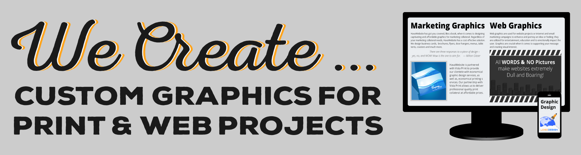 havawebsite custome graphics for print and web projects